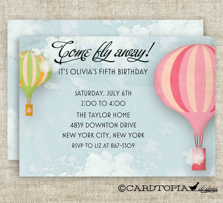 Vintage HOT AIR BALLOON Birthday Party Invitations Girl