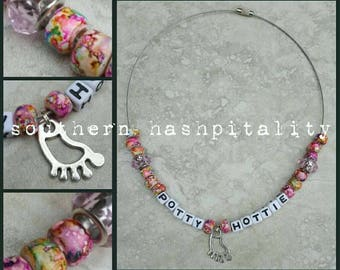 Hash House Harriers Beaded Name Necklace w/ Charms