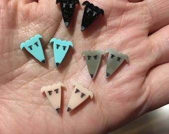 Greyhound whippet laser cut acrylic perspex stud earrings with surgical steel posts