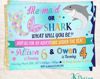 Mermaid And Shark  Invitation, Shark and Mermaid Invitation Printable, Birthday Invitation, Pool Party Invitation