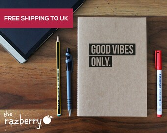Good Vibes Only A5 Kraft Notebook with Quote Notepad Quote Paper Stationery Book Craft Blank Notebook A4 A5 A6 Notebook Lined Paper Notepad