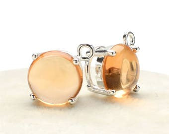2 Round Smooth Light Peach Crystal Glass Pendant, 12mm , Silver Plated over Brass Prong Setting. [R1160409]
