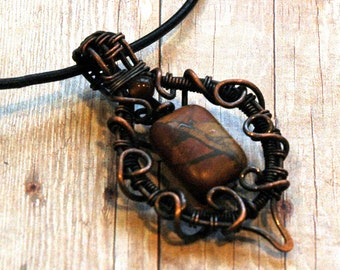 Picasso Jasper Semiprecious Gemstone Pendant with Copper Wire Wrapped Frame, Natural Stone Necklace with Leather Cord, Boho Spirit