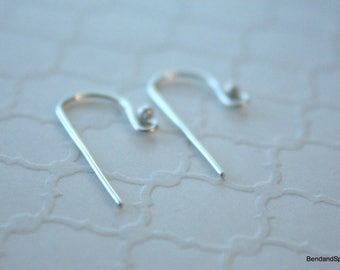 Sterling Silver Ear Wires , French Hook Earwires , Handmade Jewelry Supplies