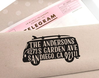 Custom Address Stamp with cute VW Bus and Surfboard - return address stamping and customized gift for holidays, housewarming and weddings