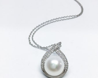 Blest Jewellery- Pearl Pendant - AAA11 MMWhite Color Freshwater Pearl Pendant , Cubic Zirconia With 925 Silver,18 Inches 925 Silver Chain