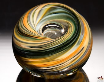 Hand Blown Glass Paperweight - Earthy Brown Streaks with Bubble