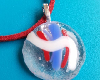 Red, blue and white fused glass pendant necklace.