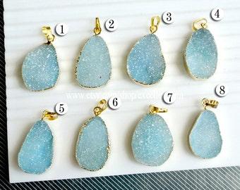 Druzy, Druzy pendant, 7% off Druzy agate pendant, druzy geode, 24kt Gold Plated Edge agate pendant in blue druzy JSP-9290