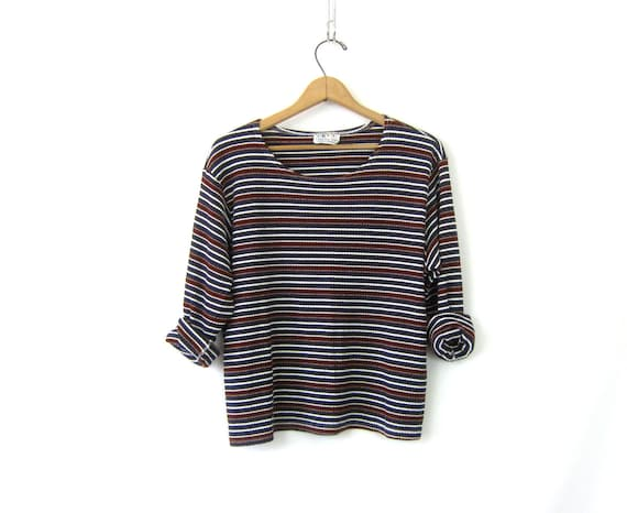 Casual Striped Shirt long underwear top Simple Thermal layering shirt Blue Red Long Sleeve Tee Women's shirt Size 2X