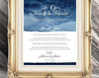 Wedding Favor Donation Card - In Lieu of Favors - Digital File - Navy Blue Watercolor