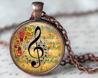 Clé de sol musique Note pendentif, collier ou chaîne de clé - choix de l'argent, Bronze, cuivre ou noir - musicien bijoux
