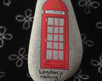 London Telephone Booth Hand Painted River Rock
