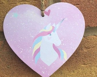 Unicorn wooden Hanging heart Decoupaged handcrafted 10cm