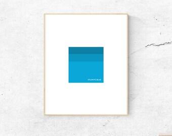Atlantic blue color palette wall art print - Wall decor - Gift idea - Beach house decor - INSTANT download - printable