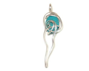 Silver Jewelry Wire Wrapped Pendant Sterling Silver Necklace Turquoise Pendant Contemporary Necklace