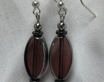 Drop translucent purple oval glass bead earrings. Free shipping!