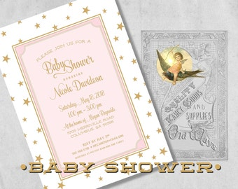 Star Baby Shower Invitations for a Girl - Pink and Gold Star Theme Baby Shower - Custom Printed Baby Girl Shower Invitations