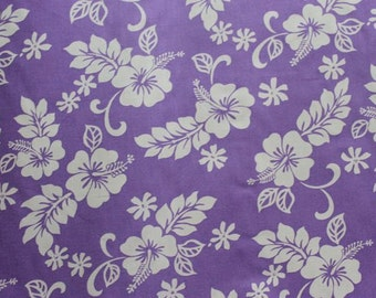 Classic Cotton Hawaiian Print in Purple/White   (Yardage Available)