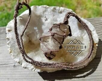 Rough Smokey Quartz Hemp Wrapped Necklace, Raw Smokey Quartz Pendant, Healing Crystal Necklace, Natural Quartz Pendant, Chakra