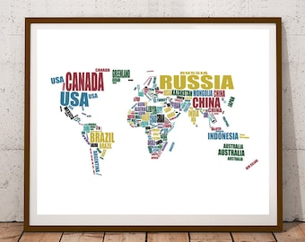 """Map of the World, Printable World Map, World Map Art, Instant Download, Map of the World Country Names, Typography Map, 8x10, 14x11, 16x20"""""""
