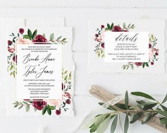 Burgundy and Blush Wedding Invitation, Burgundy Wedding Invitation Template, Modern Wedding Invite, Floral Invite, PDF Download Invitation
