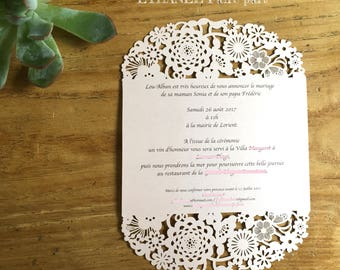 Carved flowers - set of 10 wedding invitations