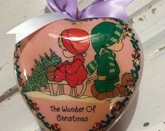 "APRILSALE Precious Moments Heart shaped ornament ""The Wonder of Christmas """