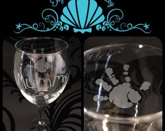 Personalised Childs Hand Print Wine Glass. Handmade Unique Gift! FREE Name Engraved!
