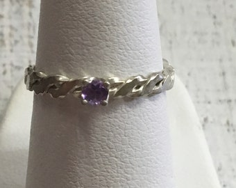 Amethyst Argentium Sterling Silver Ring. Size 5.75
