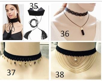 Vintage Gothic Black Lace Retro Choker Collar Bib Necklace Charm Pendant Jewelry