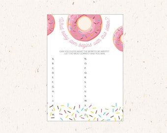 Baby Alphabet Game, Baby Shower Activity, Sprinkles, Donut Party theme, instant download