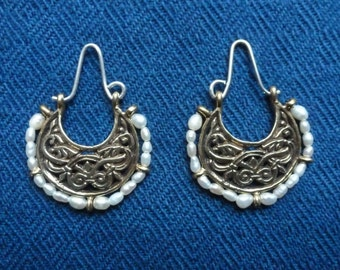 Persian Inspired Slavic Earrings Replica of Russian Archeological Find in bronze or silver with pearls