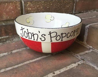 Personalized Round Ceramic Popcorn Bowl