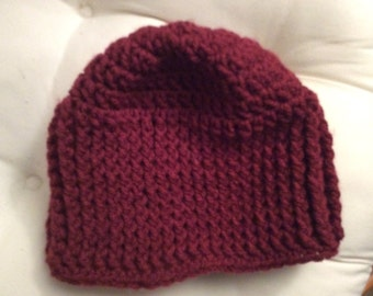 Hand crocheted deep red beanie hat
