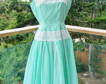 50s, Green, Dress, Christmas, 1950s, Fit & Flare, Mint, Lace, size m