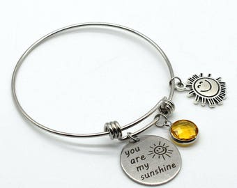 Stainless Steel Adjustable Bracelet, You Are My Sunshine, Inspiration Jewelry, ASB34