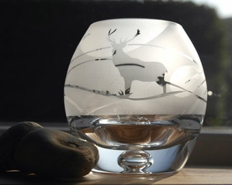 Hand Etched Globe Tealight - Stag