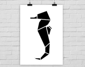 fine-art print poster ORIGAMI SEAHORSE