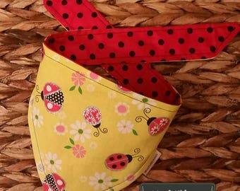 Lady Bugs and Dots Reversible Tie Around Bandana