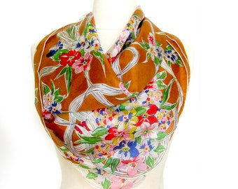 1950s Vintage SILK Scarf / Floral Bouquet Print / Rolled Hem with Scalloped Corners / Bright Colors