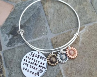 Sister's Adjustable Bangle Bracelet - Flower Garden - Brass, Silver, Rose Gold Sunflowers