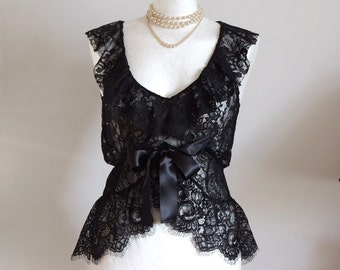 Lace camisole, fairy tale wedding, sleevless lace top, romantic blouse in black, scalloped bottom, goth top, v-neck ruffles, empire waist