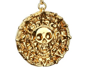 Vintage Style Pirates of the Caribbean Coin Pendant Necklace, Cursed Pirate Doubloon Necklace Gift