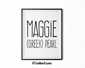 Maggie Name Meaning Art - Printable Baby Shower Gift - Nursery Printable Art - Digital Print - Nursery Decor - Typography Wall Decor