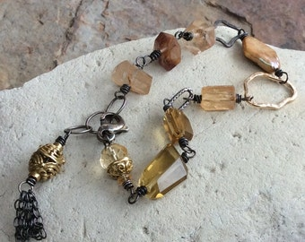 Multi-GEMSTONE bracelet with Imperial Topaz, Rutilated Quartz, Citrine, Pearl, Beer Quartz, brass, sterling silver, handmade,