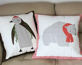 """Quilted Pillow Covers featuring Polar Bear and Penguin, Two 20"""" Throw Pillows using Merrily Fabric by Gingiber for Moda"""