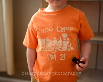 Choo Choo I'm 2, Second birthday train shirt (No ink) Toddler Tshirt - 12m to 4T - click for colors, Free Shipping