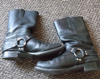 Men's TRASHED Frye Harness Boots Motorcycle Boots GRUNGE Biker Boots engineer boots