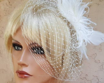 Ivory feather Fascinator with French net birdcage veil,  large feather headpiece,  bridal veil, ivory bridal headpiece,  ivory wedding set